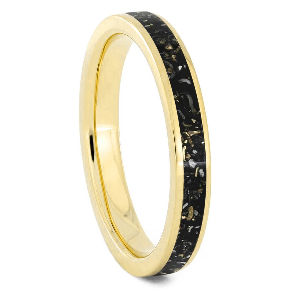 Black Stardust™ Women's Wedding Band in Yellow Gold-4087 - Jewelry by Johan