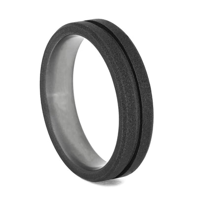Grooved Titanium Wedding Band with Sandblasted Finish-4088 - Jewelry by Johan