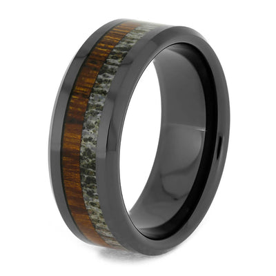 Men's Black Ceramic Wedding Band with Deer Antler and Ironwood-4092 - Jewelry by Johan