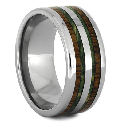 Mahogany Wedding Band with Green Box Elder Wood Burl-4096 - Jewelry by Johan