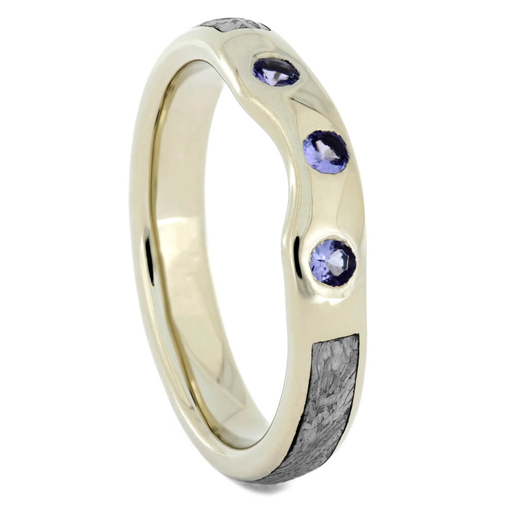 Custom Meteorite Shadow Band with Tanzanites in White Gold-4098 - Jewelry by Johan