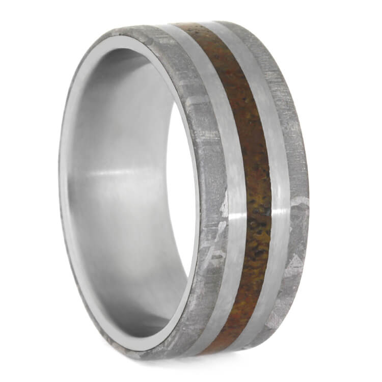 Exotic Dinosaur Bone Wedding Band With Meteorite, Titanium Ring-2403 - Jewelry by Johan