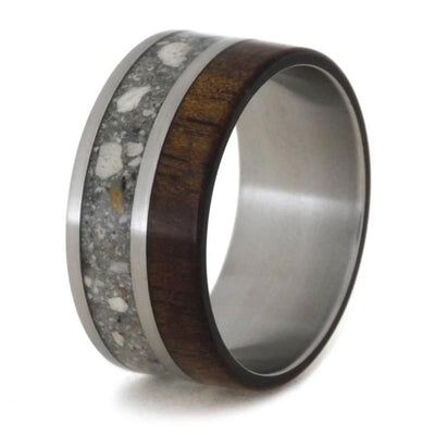 Pet Memorial Ring On Titanium Band With Pet Ashes And Koa Wood-1773 - Jewelry by Johan