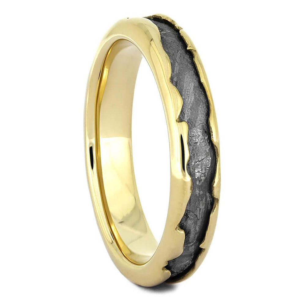 Wavy Gold Wedding Band with Meteorite - Jewelry by Johan