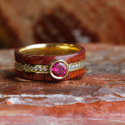 Ruby Wedding Ring in Yellow Gold, Rosewood Ring With Diamond Band-DJ1008YG - Jewelry by Johan