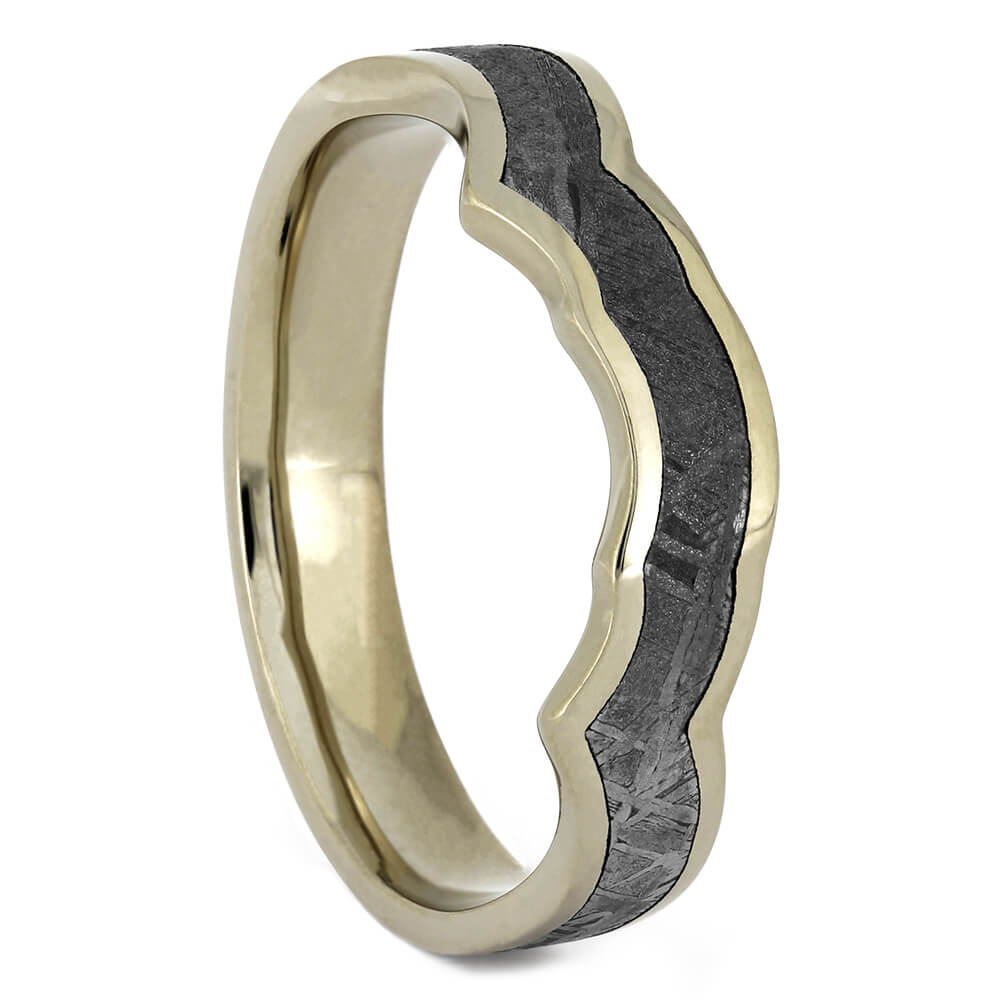 Gibeon Meteorite Shadow Band for Twist Engagement Rings-4131 - Jewelry by Johan