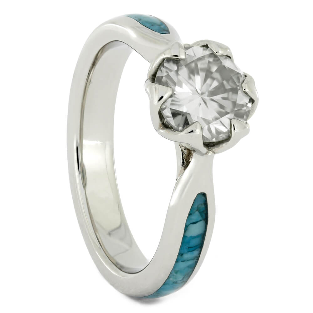 Moissanite Platinum Engagement Ring with Crushed Turquoise-4137 - Jewelry by Johan