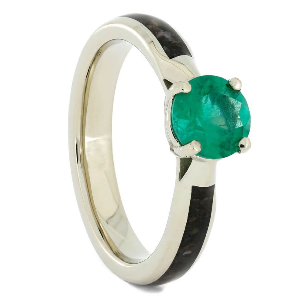 Solitaire Emerald Engagement Ring with Dinosaur Bone in White Gold-4141 - Jewelry by Johan