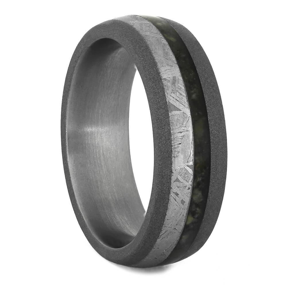 Crushed Dinosaur Bone Wedding Band with Sandblasted Titanium-4142 - Jewelry by Johan