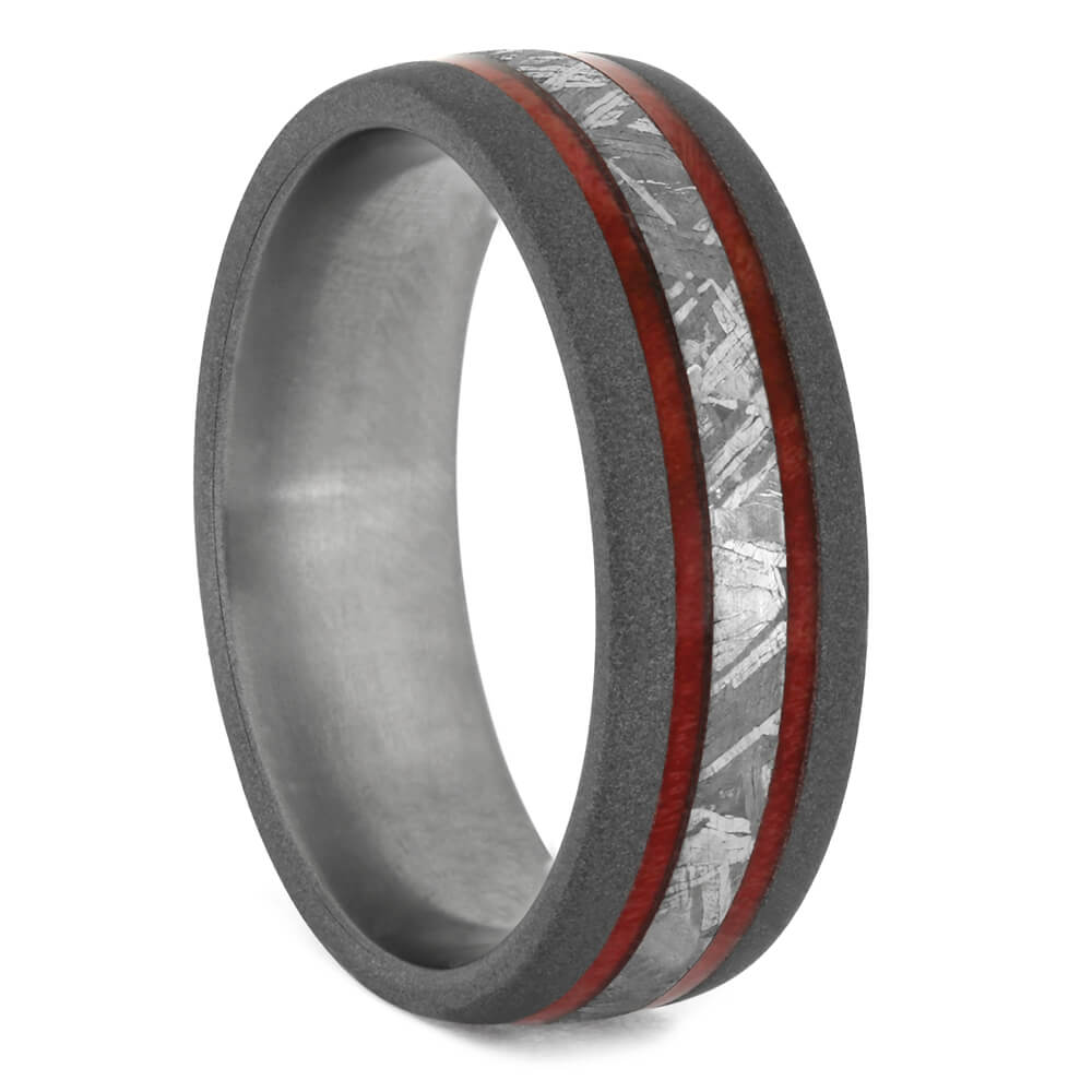 Men's Wedding Band with Meteorite and Red Box Elder Burl Wood-4152