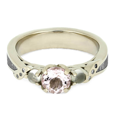 Morganite Engagement Ring with Moonstones and Meteorite-4167 - Jewelry by Johan