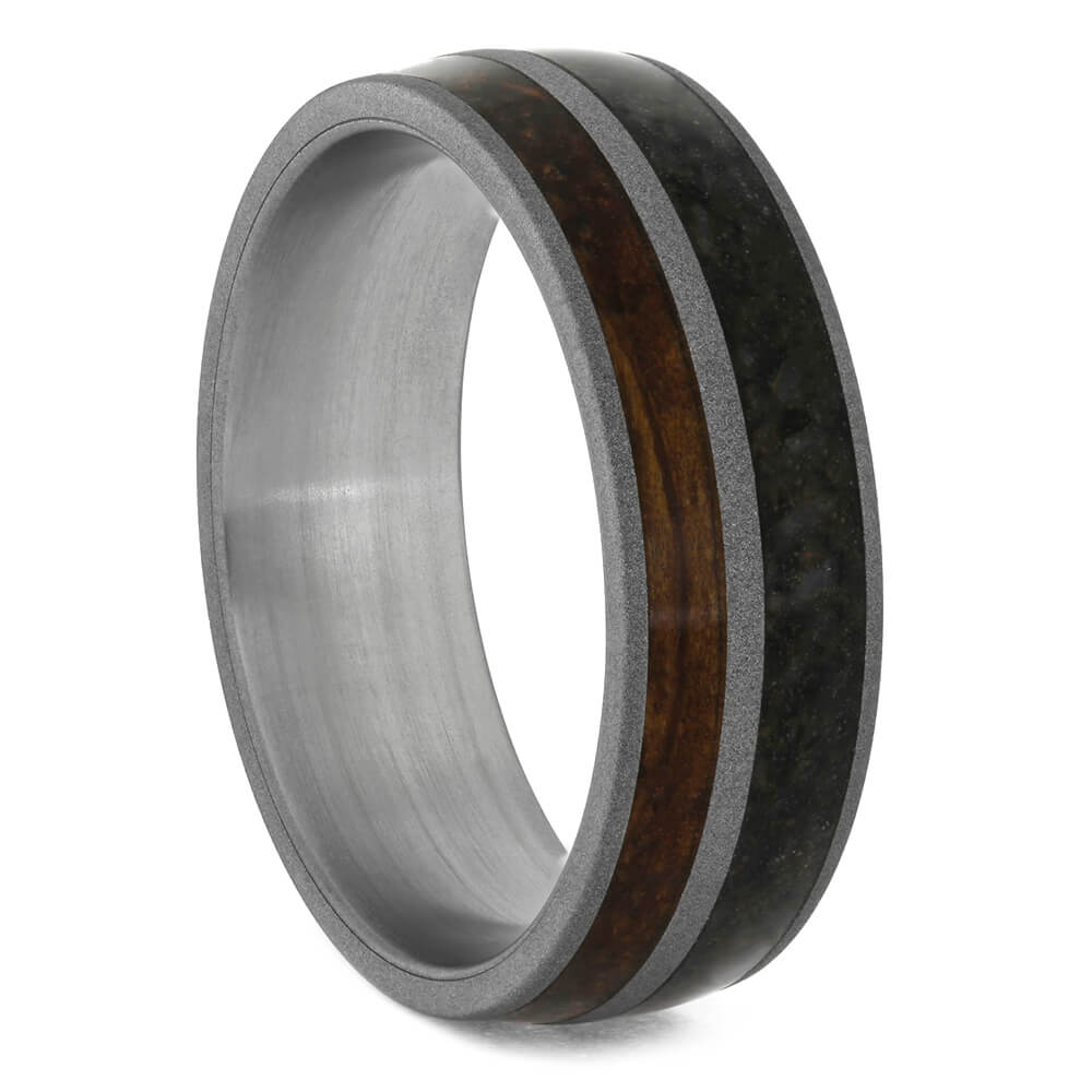 Whiskey Oak and Dino Bone Men's Wedding Band-4168 - Jewelry by Johan