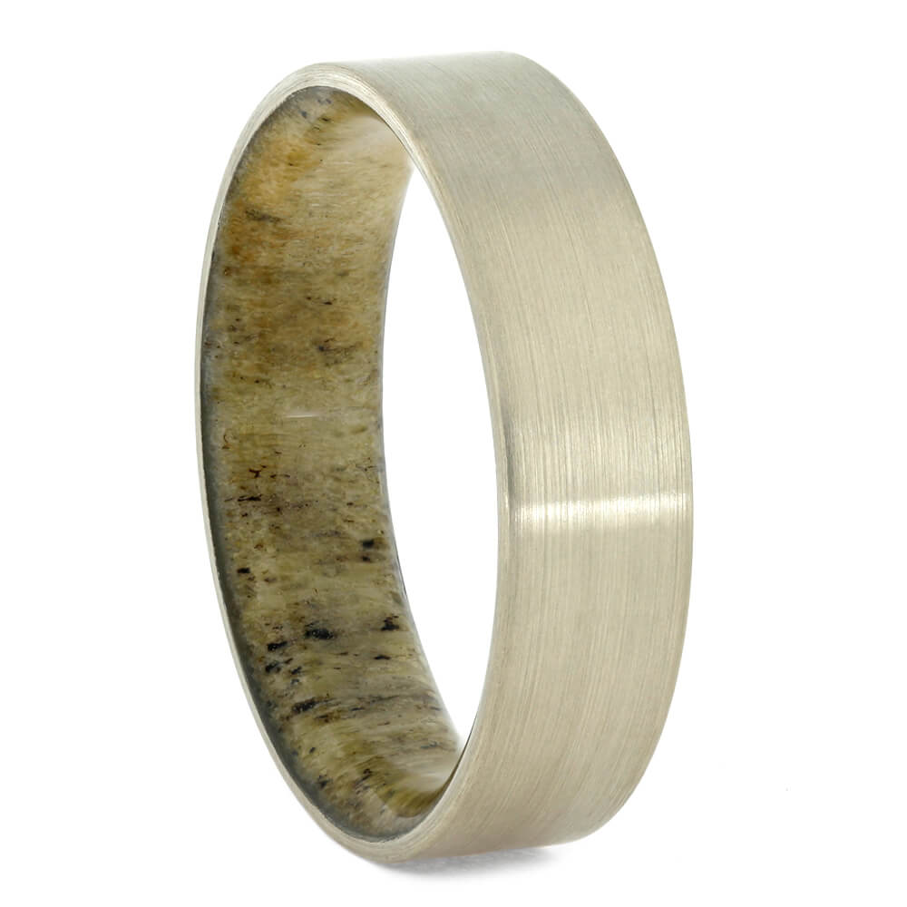 Brushed White Gold Wedding Band With Antler Sleeve-4169 - Jewelry by Johan