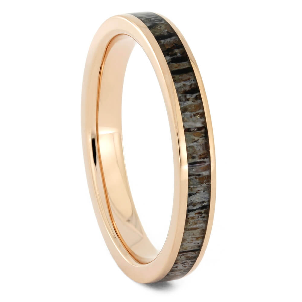 Women's Wedding Band in Rose Gold with Deer Antler-4186RG - Jewelry by Johan
