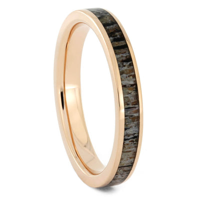 Women's Wedding Band in Rose Gold with Deer Antler-4186 - Jewelry by Johan