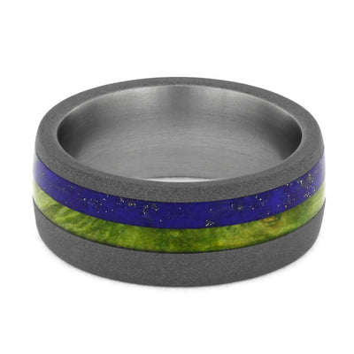 Lapis Lazuli Wedding Band with Peridot Box Elder Burl Wood-4187 - Jewelry by Johan