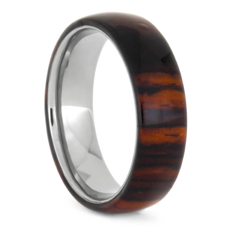 Cocobolo Wood Overlay Wedding Band, Size 8-RS9590 - Jewelry by Johan