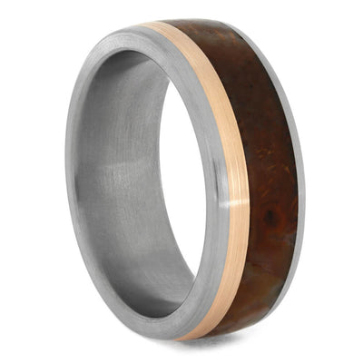 Agate Wedding Band with Rose Gold Pinstripe-4191 - Jewelry by Johan