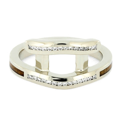 Personalized White Gold Engagement Ring Guard with White Gold