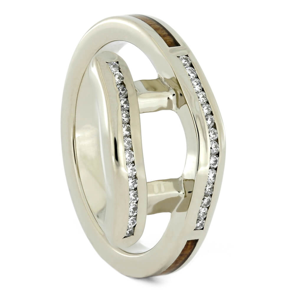 Personalized Koa Wood Ring Guard with White Gold-4192 - Jewelry by Johan