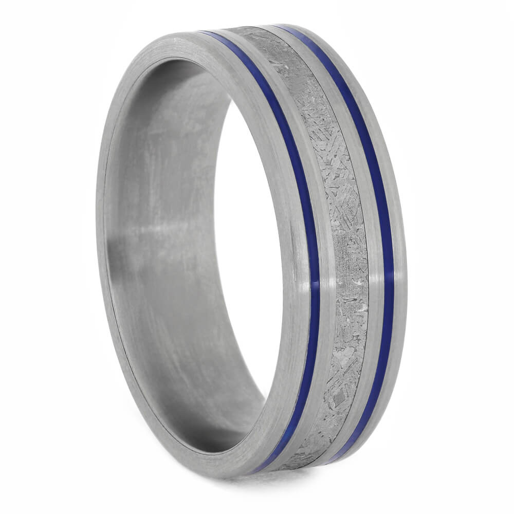 Men's Meteorite Wedding Band with Stripes of Blue Enamel-4193 - Jewelry by Johan