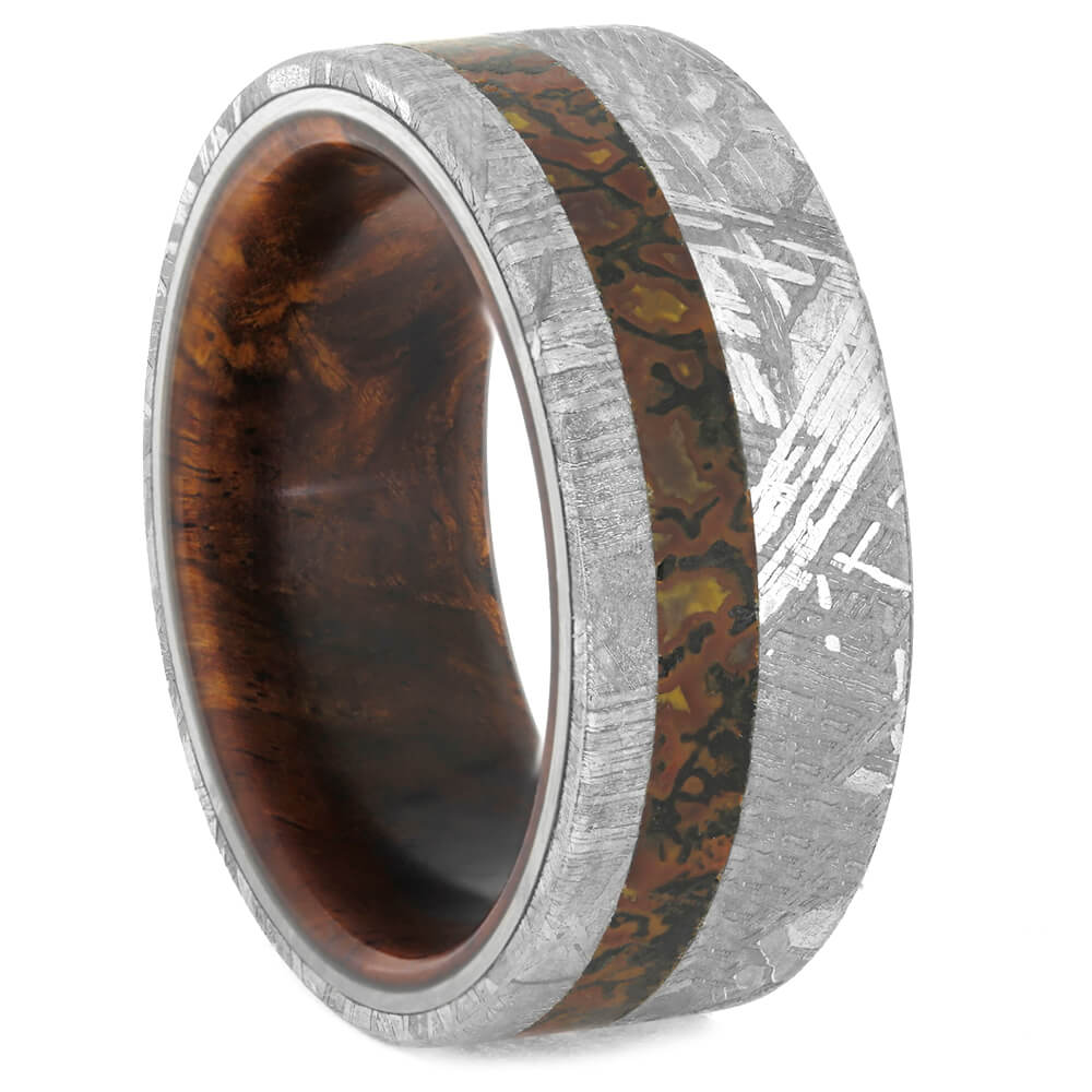 Men's Meteorite Wedding Band with Dinosaur Bone and Wood Sleeve-4198 - Jewelry by Johan