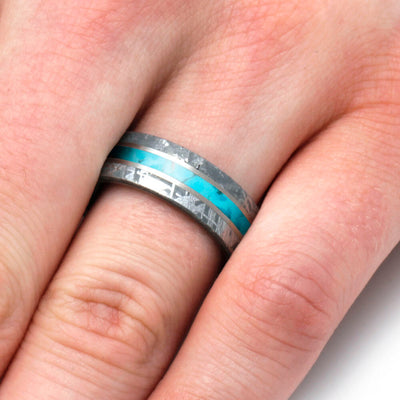Turquoise and Meteorite Wedding Band