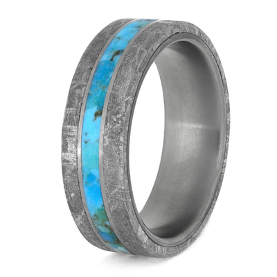 Turquoise Ring for Man With Meteorite Edges Separated By Titanium-4199 - Jewelry by Johan