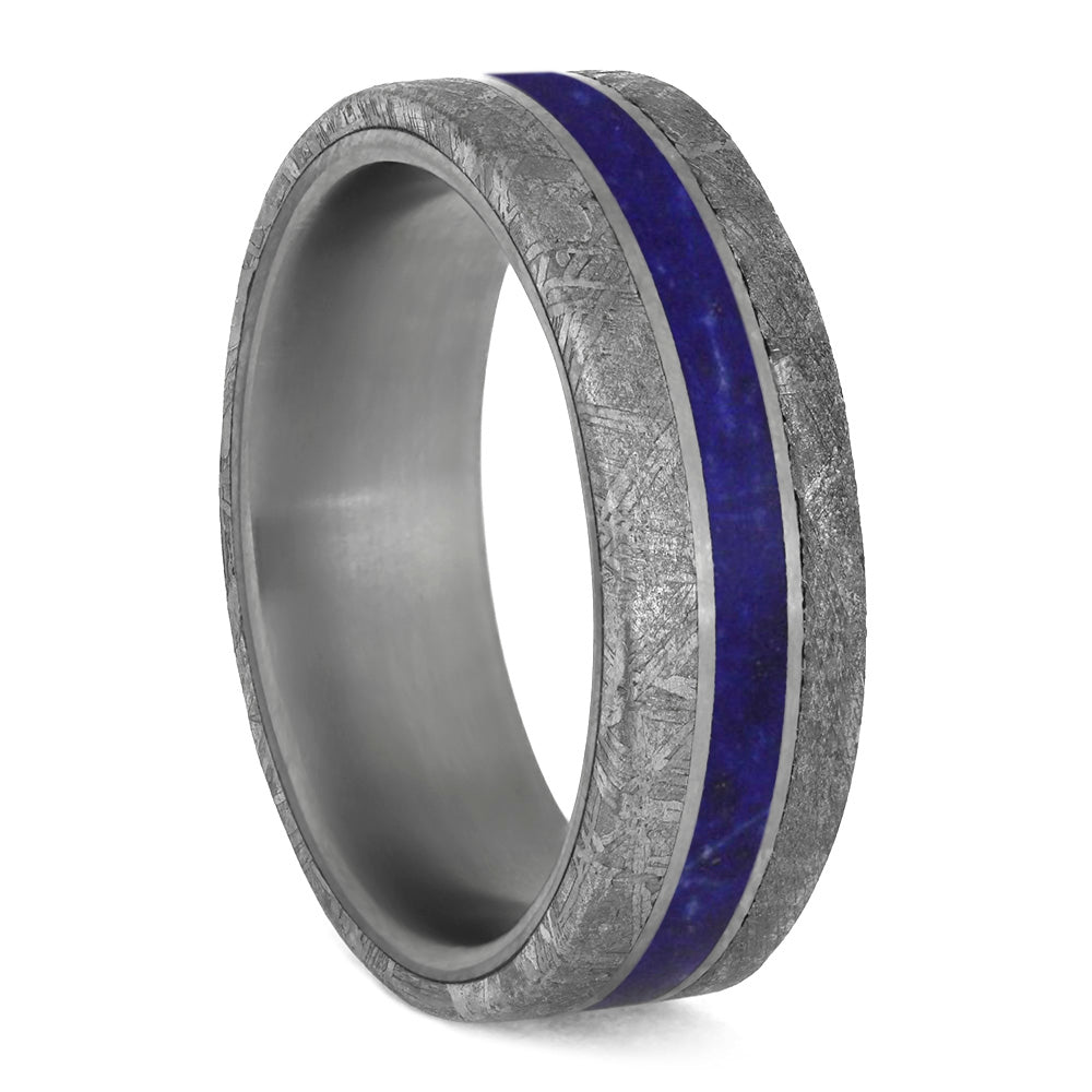 Lapis Lazuli Men's Wedding Band With Meteorite Edges Separated By Titanium-4200