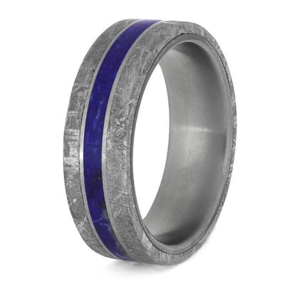 Lapis Lazuli Men's Wedding Band With Meteorite Edges Separated By Titanium-4200 - Jewelry by Johan