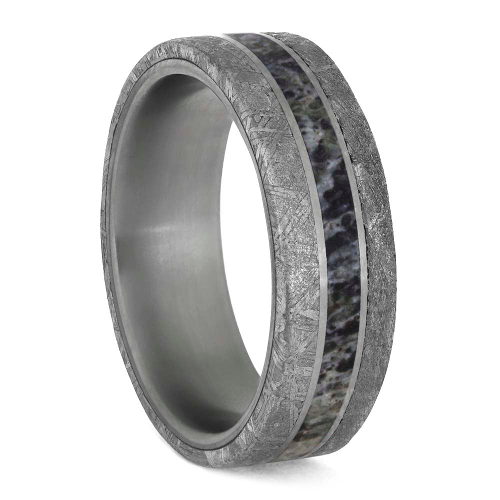 Meteorite and Antler Men's Wedding Ring in Matte Titanium