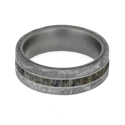 Titanium meteorite ring with antler