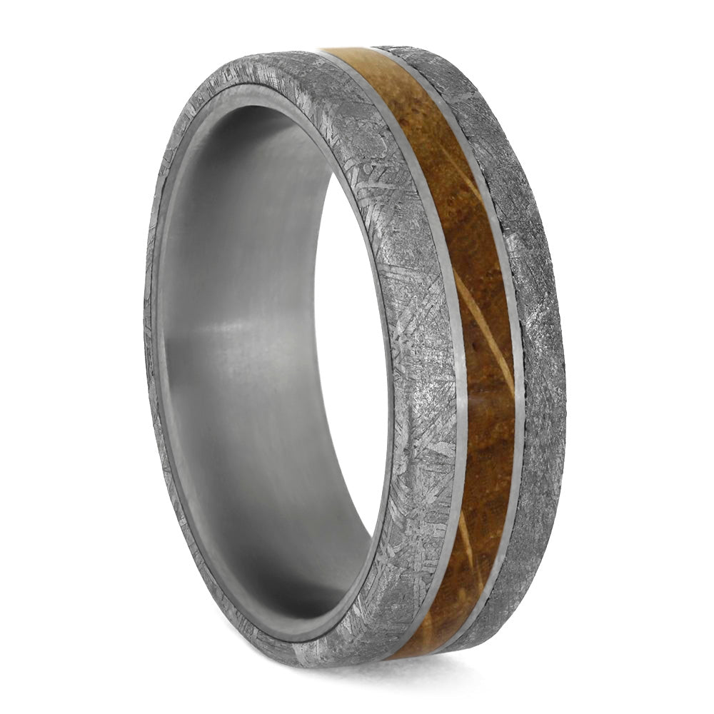 Whiskey Barrel Oak Men's Wedding Band With Meteorite-4202 - Jewelry by Johan