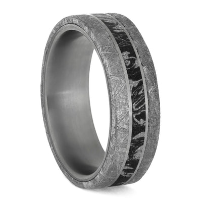 Authentic Meteorite Ring with Black and White Mokume Gane-4204 - Jewelry by Johan