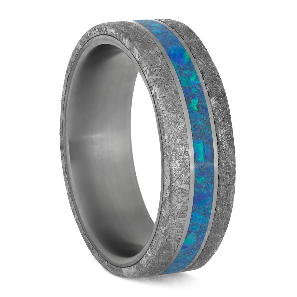 Blue Men's Ring with Meteorite Edges in Matte Titanium-4205 - Jewelry by Johan