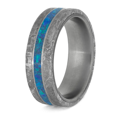 blue opal and meteorite ring for man