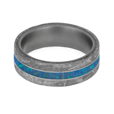 Opal and authentic meteorite men's wedding ring