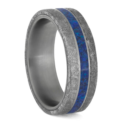 Meteorite and Dark Blue Opal Men's Wedding Band in Matte Titanium-4206 - Jewelry by Johan