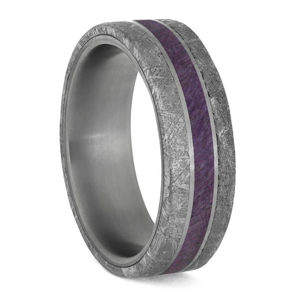 Purple Wood Men's Wedding Band Meteorite Edges Separated By Titanium Pinstripes-4207 - Jewelry by Johan