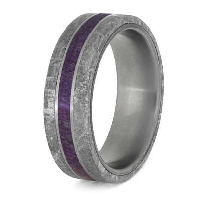 Men's Wedding Band with Meteorite and Purple Wood