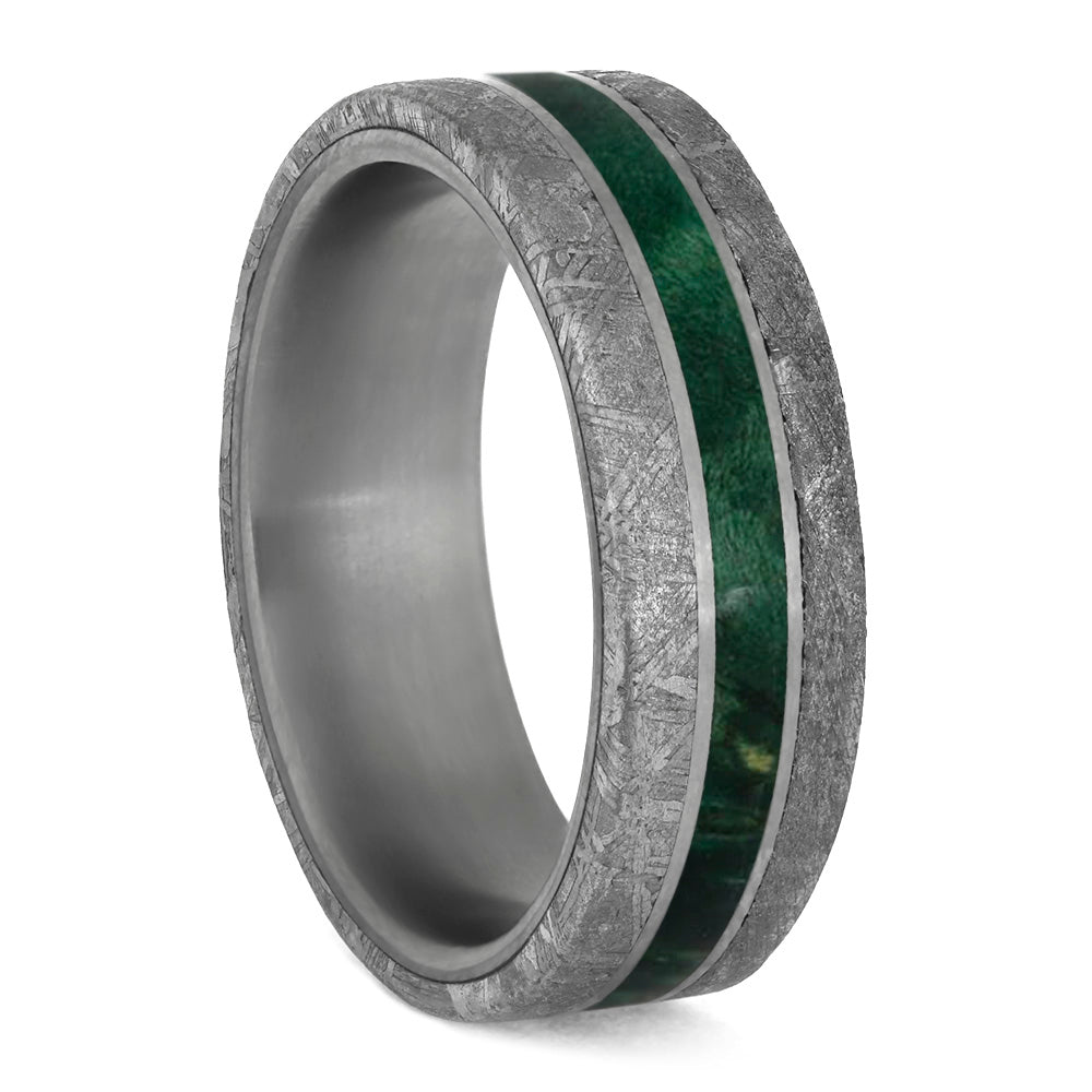 Green Wood Men's Wedding Band With Meteorite Edges Separated By Titanium Pinstripes-4208 - Jewelry by Johan