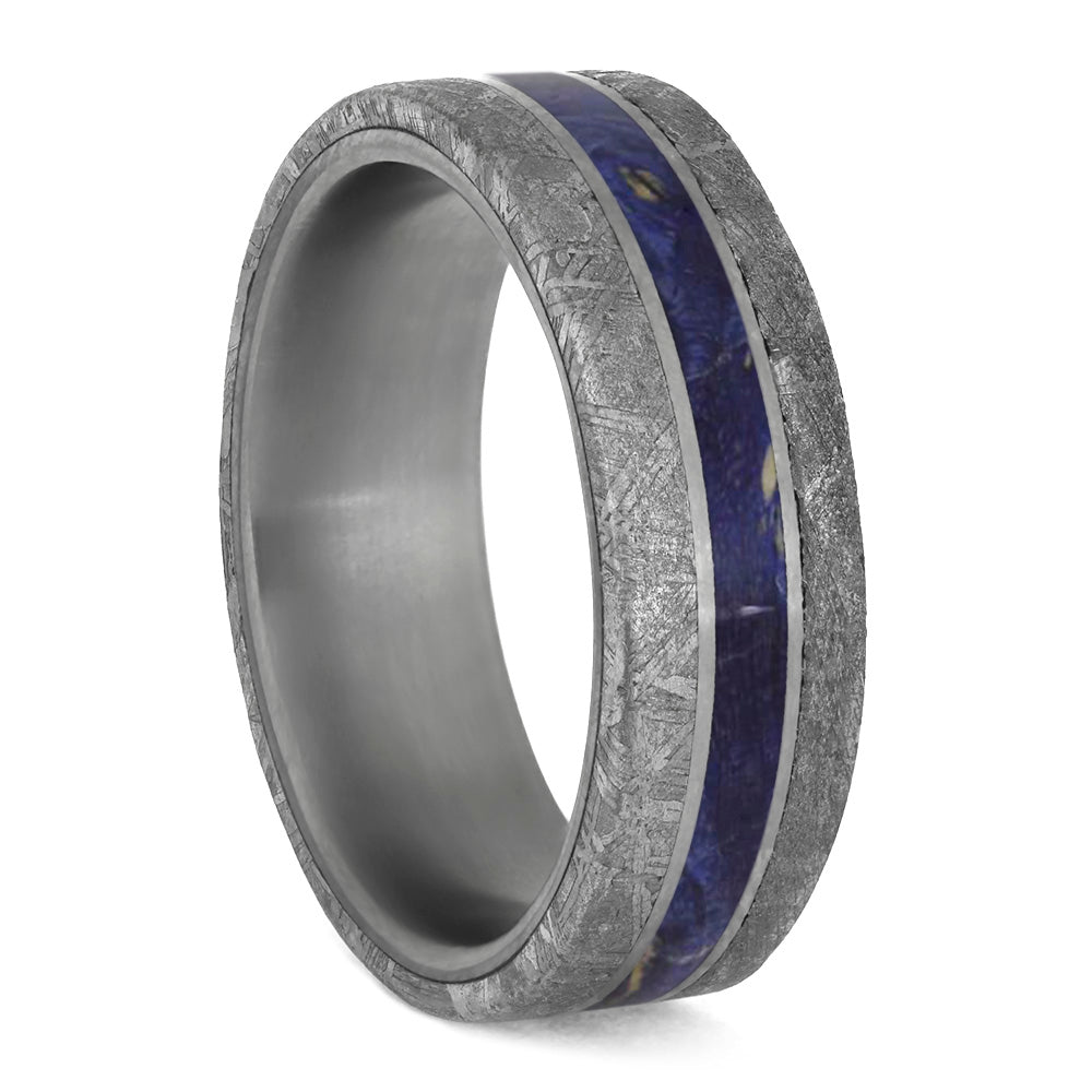 Blue Wood Ring With Meteorite Edges Separated By Titanium Pinstripes-4209 - Jewelry by Johan