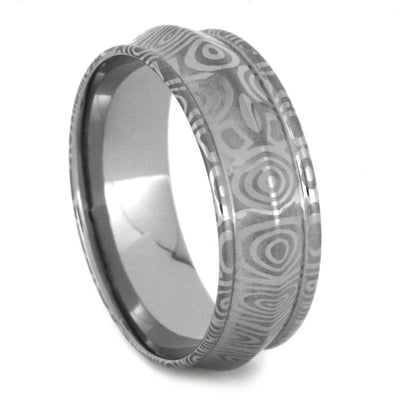Damascus Wedding Band With Etched Birds Eye Pattern-2087 - Jewelry by Johan