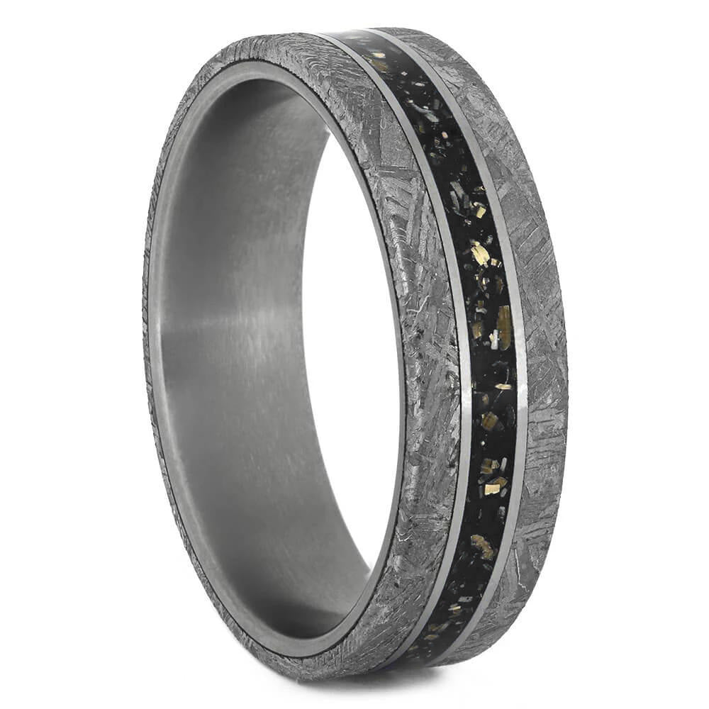 Black Stardust & Meteorite Wedding Band in Matte Titanium - Jewelry by Johan