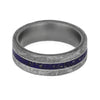 Blue Stardust™ Men's Meteorite Ring in Matte Titanium-4211 - Jewelry by Johan
