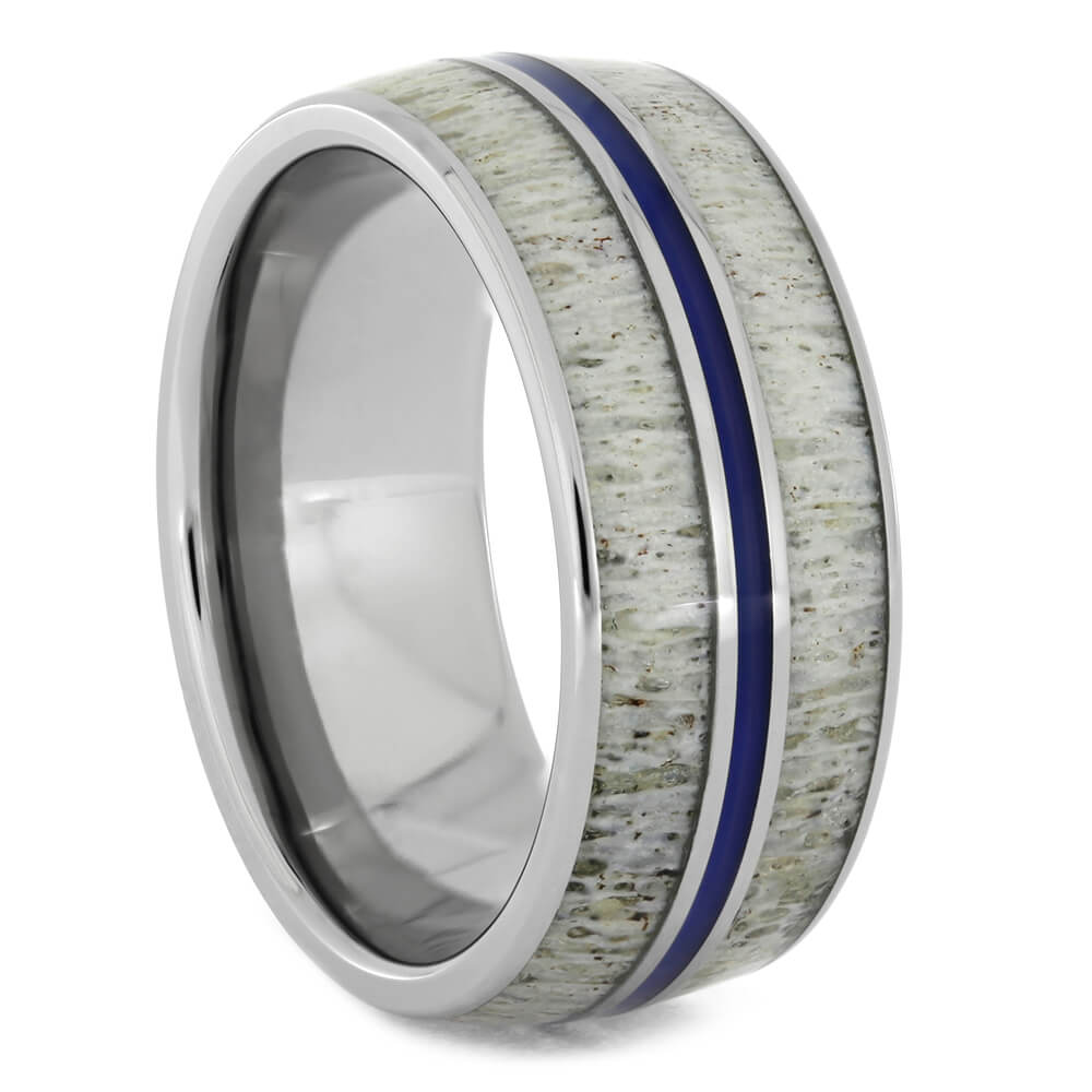 Deer Antler Wedding Band with Blue Enamel-4213 - Jewelry by Johan