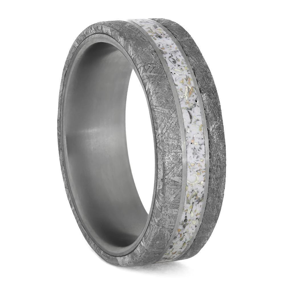 White Stardust™ Meteorite Men's Ring in Matte Titanium-4217 - Jewelry by Johan