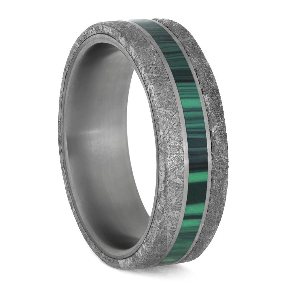 Malachite and Meteorite Men's Wedding Band, Green Ring for Man