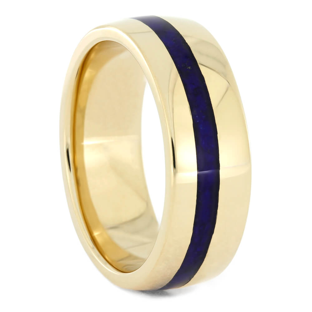 Yellow Gold Wedding Band with Lapis Lazuli-4219 - Jewelry by Johan