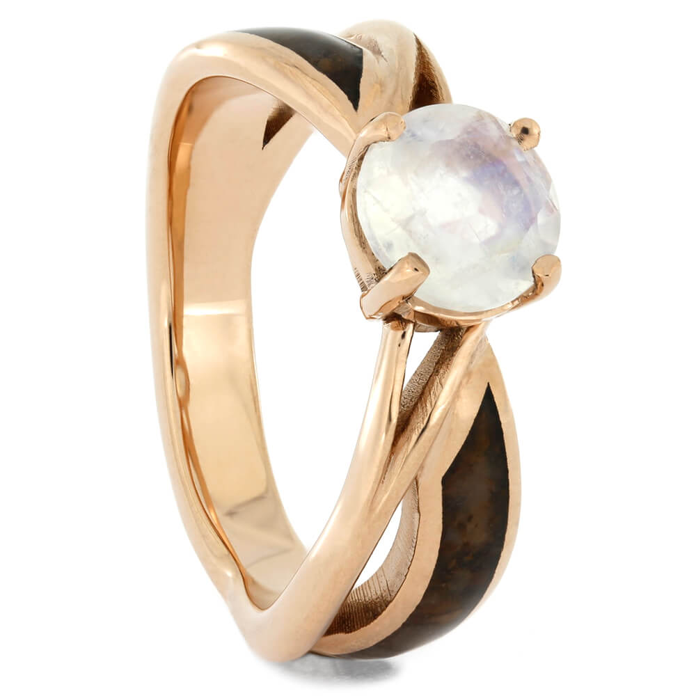 Solitaire Moonstone Engagement Ring with Dinosaur Bone in Rose Gold-4220 - Jewelry by Johan